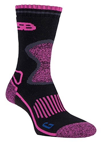 Storm Bloc - 2 Pairs Ladies Cushioned Sole Wool Blend Winter Hiking Socks with Arch Support (4-8 uk, SBGLS003CHA)