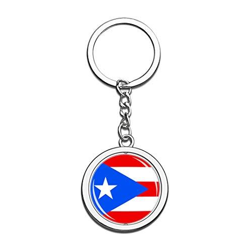 Hqiyaols Souvenir Puerto Rico Bandera Nacional Llavero 3D Cristal Creativo Spinning Ronda...