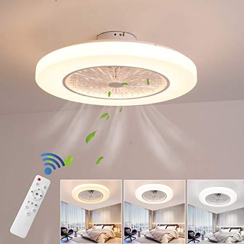 ZEKEI Ventilador de Techo con lámpara y Control Remoto, Luces de Techo Modernas Regulables 36W LED, 3 Tiempos 3 velocidades Ventilador de Techo Lámpara Colgante para Sala de Estar, Dormitorio