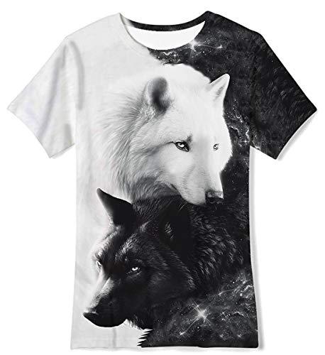 Funnycokid Teenager Jungen T-Shirt Sommer Kurzarm 3D Wolf Grafik Unisex Mädchen Shirt Casual Top Tee Alter 10-12 Jahre