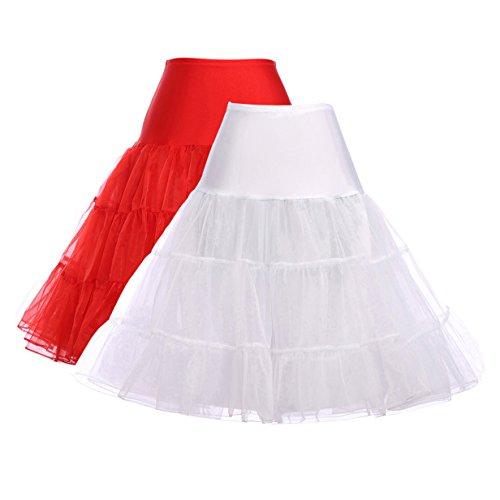 Novelty Knee Length Black Petticoat Half Slip (XL,White&Red,2Pack)