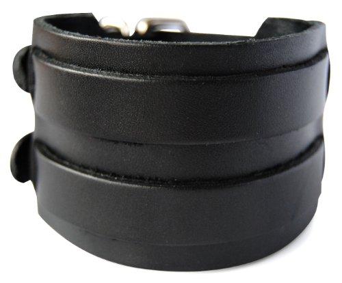 axy LAB1-5 LEDERARMBAND BREIT Serie! ECHT Leder Armband Leather Bracelet! Surferarmband Herren (Schwarz/Black)
