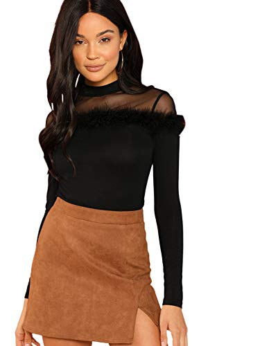 Floerns Women's Contrast Mesh Long Sleeve Shirt Blouse Tops Black L