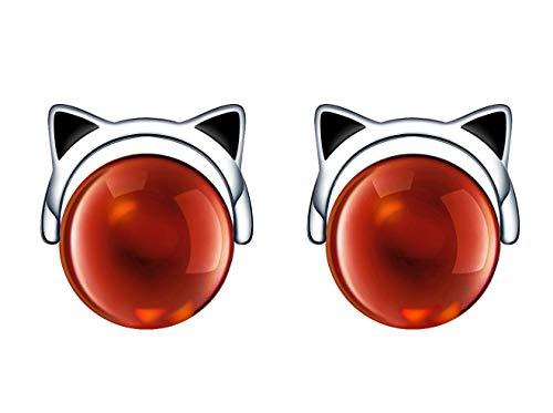 Unendlich U-Pendientes de plata de ley 925 para mujer, lindos pendientes de gato con piedra roja,...