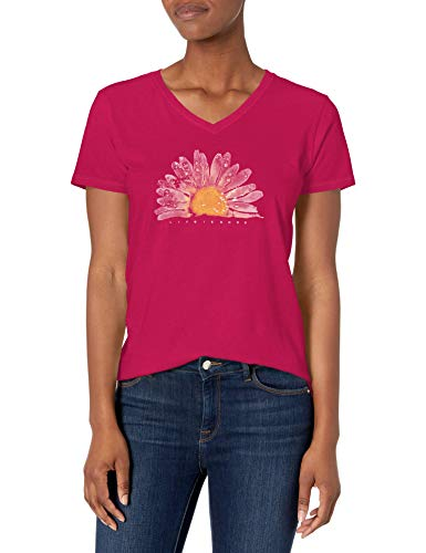 Life is Good Womens Crusher Flower Graphic V-Neck T-Shirt, Watercolor Sangria Red, Large