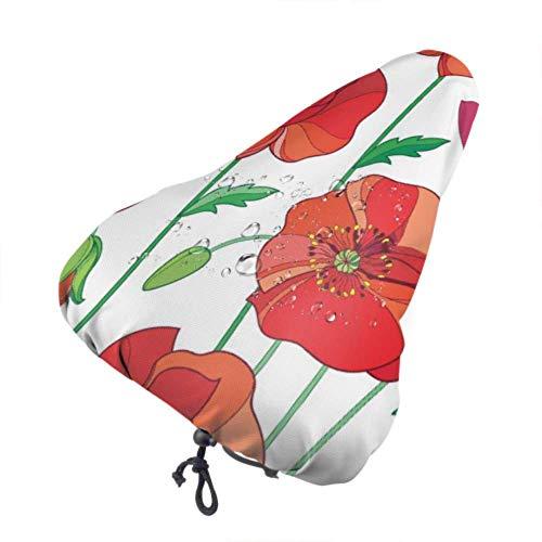 Coprisedile per Bici Colore Rosso Sangue Fiore Poppy Bike Coprisedile Coprisedili per Bici da Bambina