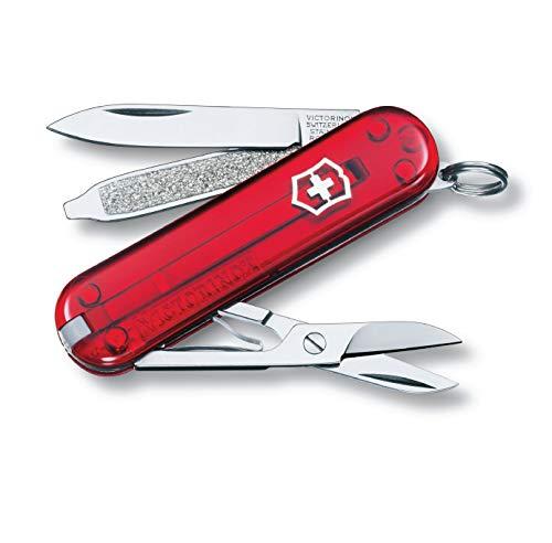 Victorinox Classic SD Taschenmesser, 7 Funktionen, Klinge, Schere, Nagelfeile, rot transparent