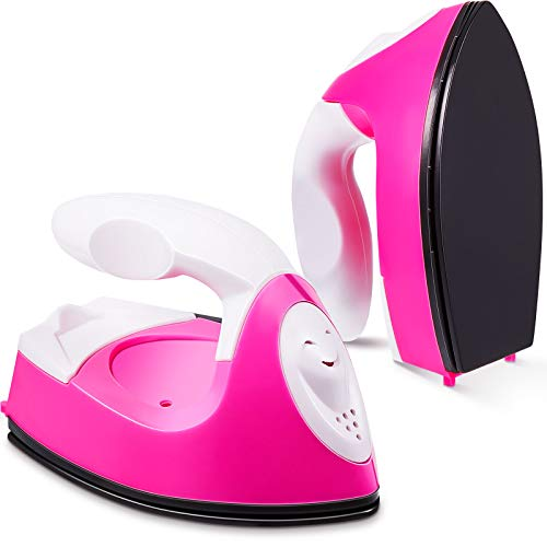 Mini Craft Iron Mini Heat Press Mini Iron Portable Handy Heat Press Small Iron with Charging Base Accessories for Beads Patch Clothes DIY T-Shirts Shoes Heat Transfer Vinyl Projects (Pink)