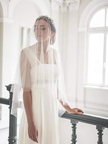 Mayelia Brautschleier, weiß, Ellenbogenlänge, Hochzeitsschleier, Brautschleier mit Kamm, 2 Ebenen, Schleier für Frauen und Mädchen