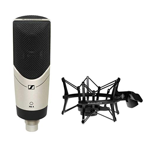 Sennheiser MK4 Large Diaphragm Studio Condenser Microphone with Neumann EA 4 Elastic Suspension Shockmount (Black)