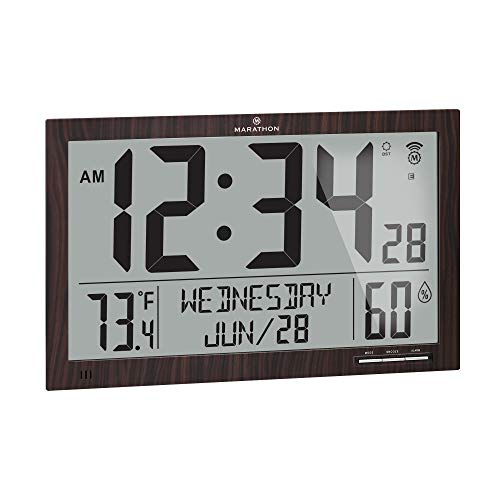 Marathon Slim Jumbo Auto-Set Atomic Full Calendar Digital Wall Clock with Temperature, Humidity, 7 Time Zone, Auto DST, Self Setting, Self Adjusting, Batteries Included (Wood Tone)