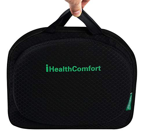 iHealthComfort Small Travel Seat Cushion,Portable and Foldable Gel Memory Foam Cushion,Multi-Functional Supportive Firm Butt Pillow,for Long Sitting Driving Trip