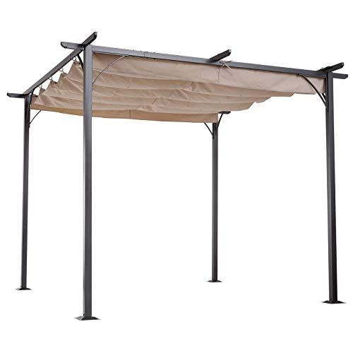 Outsunny Cabrio-Pavillon Gartenpavillon mit Schiebedach per Seilzug wasserabweisend Sonnendach UV-Beständig Metall + Polyester Beige 3 x 3 x 2,3 m