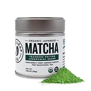 Jade Leaf Organic Ceremonial Grade Matcha Green Tea Powder - Authentic Japanese Origin - Teahouse Edition Premium First Harvest  1.06 Ounce