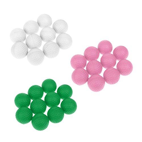 Gazechimp 30 Stück PU-Golfball Schaumstoff Golfsport Trainingsbälle Praxis Ball, Rosa/Grün/Weiß