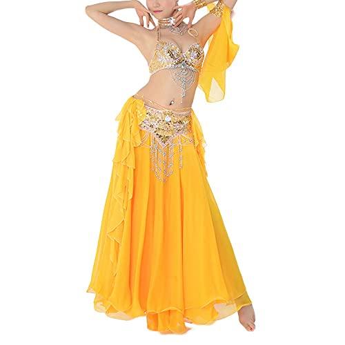 WEIJ Barriga Danza Disfraz Sujetador Cinturón Falda Sexy Bailando Mujeres Danza Ropa Set Bellydance Indio Vestir (Color : Yellow, Size : M)