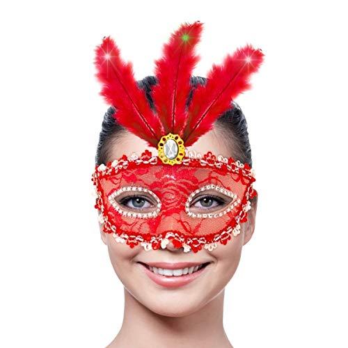 Folat Masque de fête avec éclairage LED (Taille Unique, Rouge métallisé)