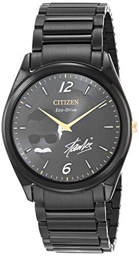 Citizen Men's Eco-Drive Quartz Watch with Stainless Steel Strap, Black, 21 (Model: AR3077-56W)