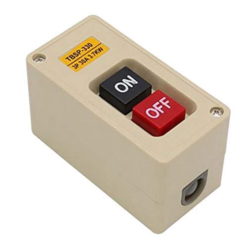 Bonarty 1x Estación de Interruptor de Botón Pulsador de Encendido 30A Impermeable Trifásica ON/OFF Lock Tend