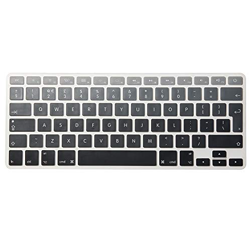 AUSMIX EU/UK Silicone Keyboard Cover Dust-Proof Washable Skin Gel Keyboard Protector for Old MacBook Pro 13' 15' 17' & Air 13' & iMac Wireless Keyboard - Ombre Grey