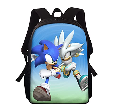 Mochila Sonic Mochila para niños Sonic Hedgehog Anime estampado de dibujos animados Mochilas escolares Set Boys Cool Kids Mochila Mochila escolar