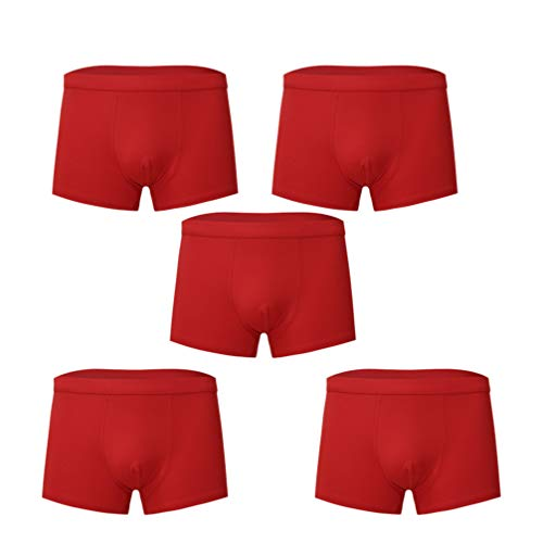 FENICAL 5pcs Cotton Man Underwear Boxer Briefs Stretchy Breathable Briefs Sexy Underwear Shorts Soft Underpants Size 4XL (Red)