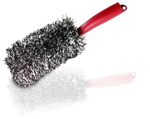 Glart 44FB2 Premium Mikrofaser Auto Felgenbürste mit abnehmbarem Mikrofasertuch Bezug, von Felgenbett bis Speichen - Autopflege für teure Felgen - Mikrofasertuch Alufelgen, Anwend. vor Reifenglanz