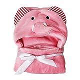 1PC Cartoon Baby Decke Korallen Vlies Baby-Handtuch Kinder KapuzenTuch Baby-Mantel Decke für Neugeborene Kleinkinder (Rosa Katze)