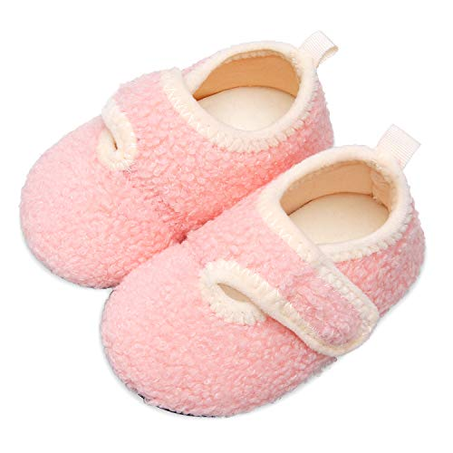 Scurtain Kids Toddler Slippers Socks Artificial Woolen Slippers for Boys Girls Baby with Non-Slip Rubber Sole 2027 Pink Little Kid 11-11.5