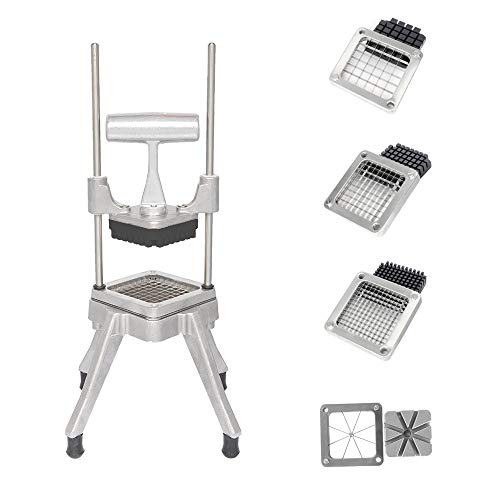 ROVSUN Commercial French Fry Cutter with 4 Sizes Blades, Potato Chopper Fruit Vegetable Slicer, 1/2-Inch, 3/8-Inch, 1/4-Inch & 8-Wedge Blades and Pusher Blocks