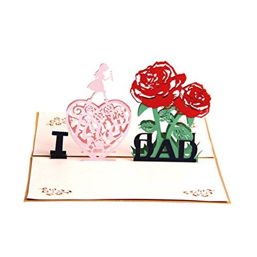 VALICLUD Vatertag Gruß 3D Pop Up I Love Dad Handmade Best Wish Kirigami Papierhandwerk Card