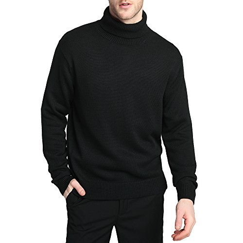Kallspin Men's Merino Wool Blend Relax Fit Turtle Neck Sweater Pullover (L, Black)