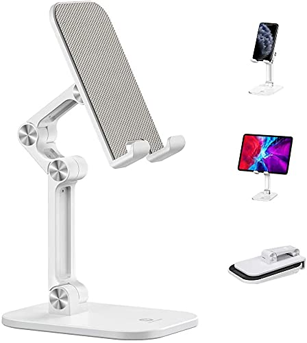 GLAMPANDA Mobile Stand for Online Classes Adjustable, 120° Angle Height Adjustable Phone Stand for Desk, Foldable Cell Phone Holder,Tablet Stand for All Smartphones/iPad/Kindle/Tablet- White or Black
