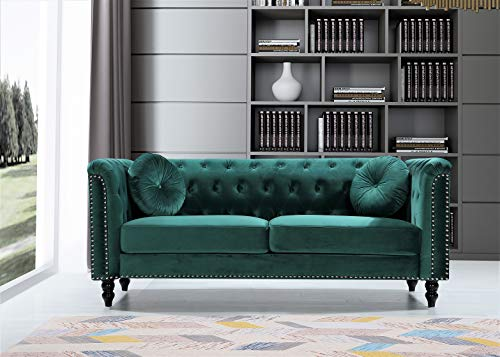"US Pride Furniture Connally Chesterfield 76"" Rolled Arms Sofas, Green"