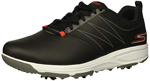 Skechers Go Golf Men's Torque Waterproof Golf Shoe, Black/red, 7.5 M US