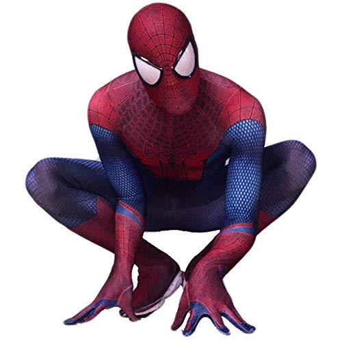 Adulte Superhero Spiderman Costume Cosplay Collant, Classique Extraordinaire Spiderman 3D Imprimé Collant Un Costume, Costume D'Halloween Carnaval Cosplay Red(Head and body apart)-XXL