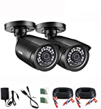<span class='highlight'>ZOSI</span> 2 Pack <span class='highlight'><span class='highlight'>1080P</span></span> Security <span class='highlight'>Camera</span> Outdoor with 80ft Night Vision, IP66 Weatherproof, Motion Detection, <span class='highlight'>CCTV</span> Surveillance Bullet <span class='highlight'>Camera</span>s Only Support TVI DVR (Black)