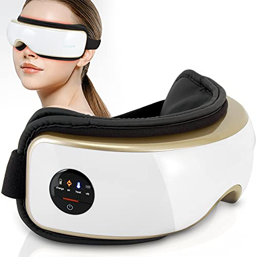 Serenelife Electric Eye Massager - Wireless Heated Eyes & Temple Massager with Air Pressure & Vibration for Migraine, Stress Care & Headache Relief - with Built-in Battery - SLEYMSG55.8