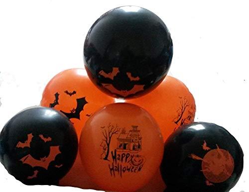 50 Halloween Luftballon Grusel-Horror-Party-Deko-Hexen Skelett Geist Totenkopf Feldermaus Kürbis