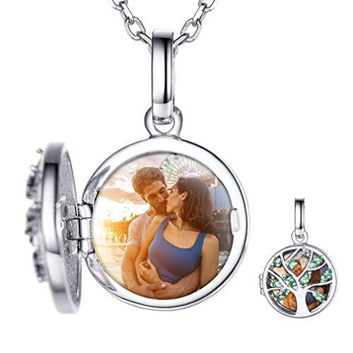 Custom4U Silber 925 Medaillon Silberfarben Lebensbaum Kette Medaillon Halskette mit Wunscheravur Damen Halskette 40cm Bilder Amulett Kette für Damen Freundin