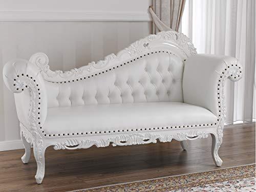 SIMONE GUARRACINO LUXURY DESIGN Dormeuse Alejandra Stile Barocco Moderno Divano Chaise Longue Bianco Laccato Ecopelle Bianca Bottoni Crystal SW