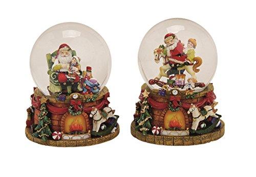 Spieluhr Schneekugel Nikolaus Santa Weihnachtsmann 15 cm Nostalgie Weihnachten Lied Merry Christmas Spieldose
