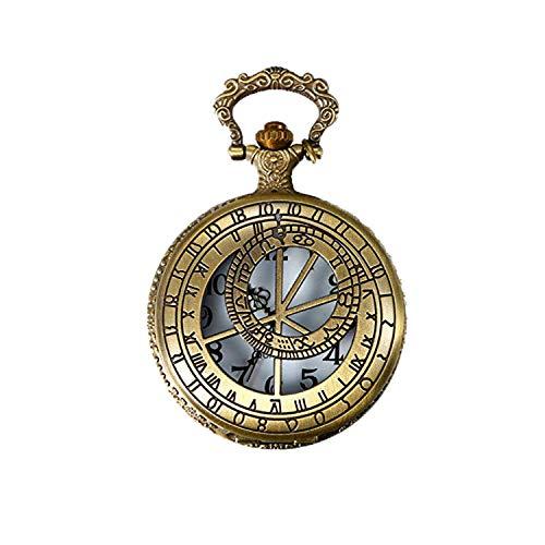 JewelryWe Vintage Messing Pocket Horloge met Kompas Ketting Twaalf Constellatie Klok voor Mannen Vrouwen, 31.5 Inch Ketting