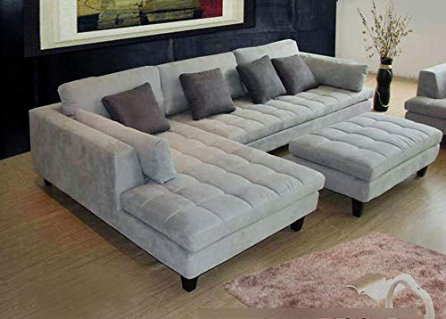 3pc Contemporary Grey Microfiber Fabric Sectional Sofa