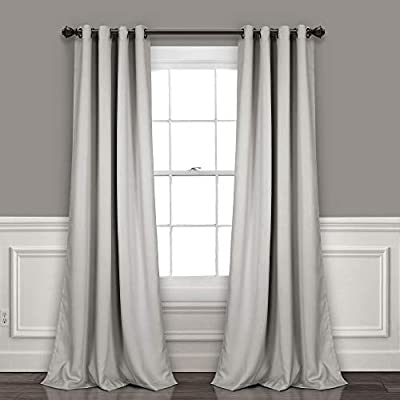 """Lush Decor Curtains-Grommet Panel with Insulated Blackout Lining, 84"""" L Pair, Light Gray"""