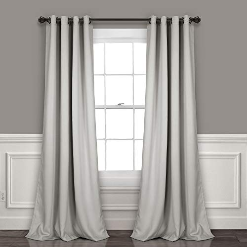 "Lush Decor Light Gray Curtains-Grommet Panel with Insulated Blackout Lining, Room Darkening Window Set (Pair) 108"" x 52 L"