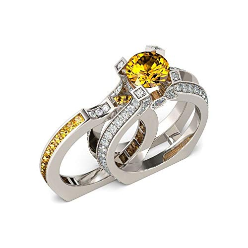UFOORO Lovely Engagement Wedding Ring Set Yellow Rings Gift for Girlfriend Platinum Plated (Yellow, 11)