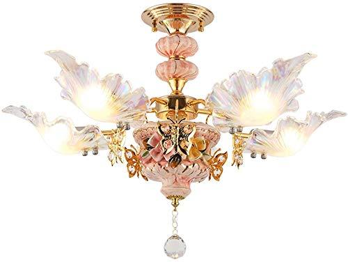 Kronleuchter Pink Room Mädchen Prinzessin Hochzeit Kristall Einfaches modernes Französisch Romantisches Creative Art Glaswasc Metall Zubehör Hängeleuchte (Color : 5-Head)