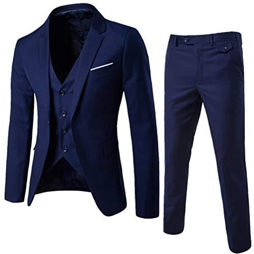 ROBO Traje Blazer de 3 Piezas - Chaqueta+ Chaleco+ Pantalones Formal para Fiesta Boda Wedding Traje Suit Hombre Todo en Un Traje