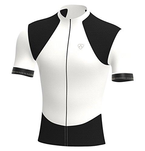 Deportes Hera Ropa Ciclismo, Maillot Mangas Cortas, Camiseta Verano de Ciclistas, Slim Fit (Blanco/Negro, XL)